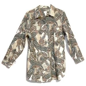 Chico's Paisley Print Long Sleeve Button Up Shirt